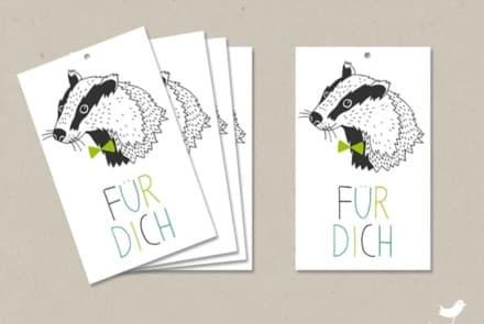 """Geschenkanhänger """"Dachs – Für Dich"""""""