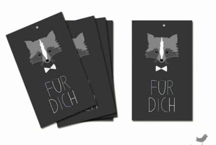 """Geschenkanhänger """"Waschbär – Für Dich/ schwarz"""""""