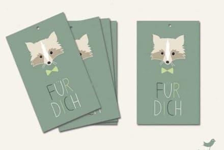"""Geschenkanhänger """"Waschbär – Für Dich/ mint"""""""