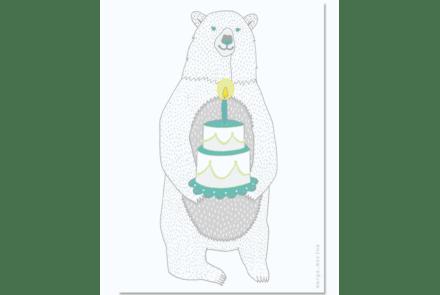 """Grußkarte """"Bär mit Torte"""""""