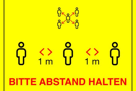 """Corona-Fußboden-Aufkleber gelb: """"Bitte Abstand halten"""" A2"""